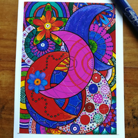 Bright, colourful folk art style moons and mandalas blank greetings card.