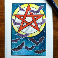 Moonlit bats with pentacle card, blank inside.