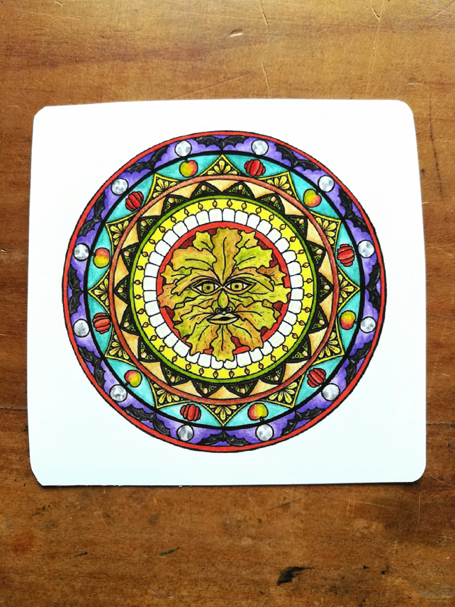 Green Man Mandala Sticker - Autumn, Fall, Halloween