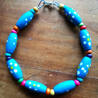 Blue and rainbow colours wooden bead bracelet, small size.