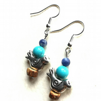 Little bird earrings with Turquoise and Sodalite.