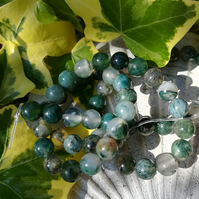 Green Moss Agate beads - 6mm x 60.