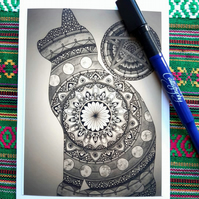 'Moon Mandala Cat' design blank greetings card.