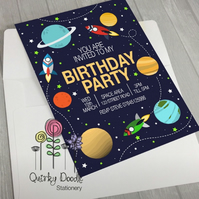 Space, Planet invitations. Pack of 10