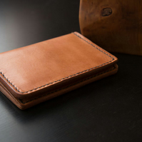 Leather Vertical Bifold Wallet with Coin Pouch, Card Wallet, Men's Wallet