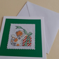 Handmade Christmas Cross Stitch Card with Calico Cat and Present