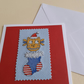 Handmade Christmas Cross Stitch Card with Owl and Stocking
