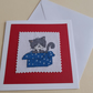 Handmade Christmas Cross Stitch Card wiht Grey Cat and Box