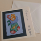 Handmade Christmas Cross Stitch Card with Orange Tabby Cat in a Stocking