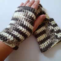 Cotton Fingerless Gloves in Chocolate Ombre
