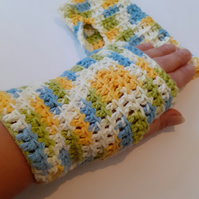 Cotton Fingerless Gloves in Cool Breeze Ombre