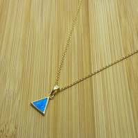 Silver triangle blue opal pendant with 18ct yellow gold plating