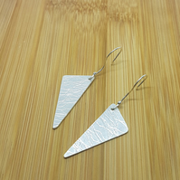 silver textured triangle hook earrings