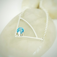 Sterling Silver Pendant Necklace with Stunning Blue Topaz   (Free UK Delivery)