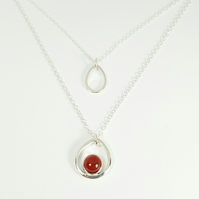 Silver Pendant Necklace Set with Carnelian