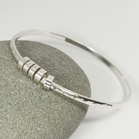 Sterling Silver Hammered Bangle Bracelet With Ring Charms  (Free UK Delivery)