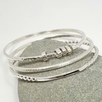 Three Bangle Sterling Silver Stacking Set   (Free UK Delivery)