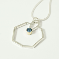 Silver Pendant Necklace with Gold and Aquamarine