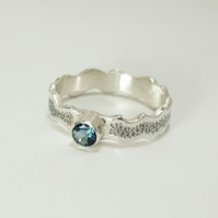 Sterling Silver and Topaz Oxidised Wave Ring   (Free UK Delivery)