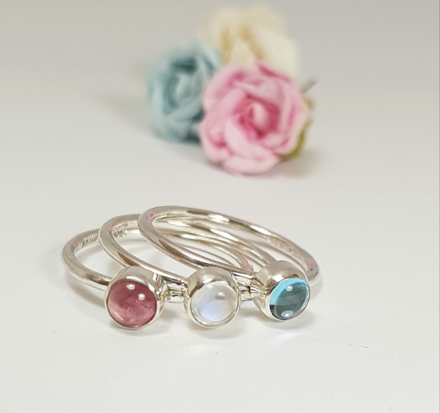 Sterling Silver Stacking Rings Set 'Pink Sky'  (Free UK Delivery)