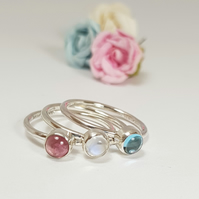Silver Stacking Rings Set 'Pink Sky'