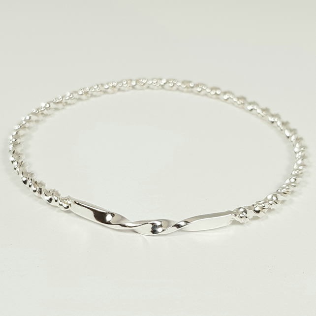 Silver Twisted Bangle - Double Twist