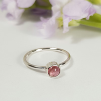Silver Stacking Ring - Pink Tourmaline