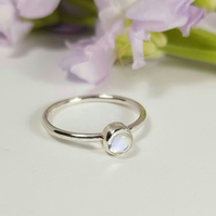 Skinny Sterling Silver and Moonstone Ring   (Free UK Delivery)