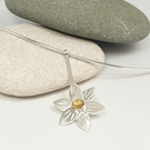 Sterling Silver Pendant Necklace - Citrine Flower Necklace