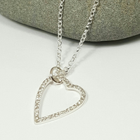 Silver Heart Pendant Necklace 'Go Grace'