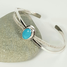 Silver Bangle Bracelet with Blue Chalcedony