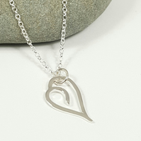 Silver Heart Pendant Necklace ''Go Pixie'