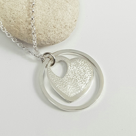 Silver Heart & Circle Pendant Necklace