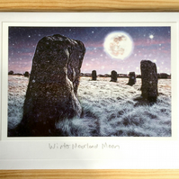 Winter Moorland Moon handmade greetings card