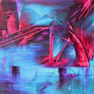 """Neon CityScape"" Original Large Abstract Art Modern Oil Painting on Canvas"