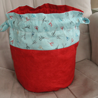 Large Reversible Drawstring Project Bag