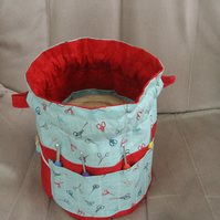 Small Drawstring Reversible Knitting or Crochet Project Bag