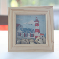 Seaside Scene in Shadow Box Frame with Pebbles