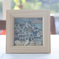Seaside Town Shadow box picture with Pebbles