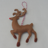 Large Festive Felt Reindeer Christmas Tree Decoration with embroidered details