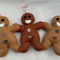 Festive Felt Gingerbread Man Tree Decoration with button embellishments