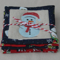 Fun Quilted Christmas Coasters featuring Santa, Snowmen, Trees and Snowflakes.