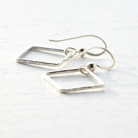 Handmade 925 Sterling Silver Small Square Dangling Earrings