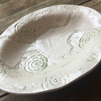 Impressed oval shallow dish