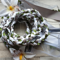 Handfasting ribbons charms hearts and love white and cream flowers