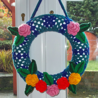 Handmade crochet wreath garland flowers roses leaves vintage style shabby chic
