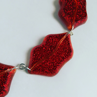 Get Lippy Resin Glitter Necklace