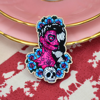 Wooden Brooch Sugar Skull Day of the Dead Pin Up Rockabilly Badge recycled