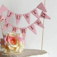 Just Married Wedding Cake Bunting Topper - White, Ivory, Cream, Pink, Mint