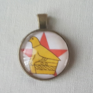 Glass cabachon necklace pendant Zim bird
